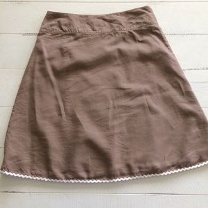 Madison Studio Skirts - Brown 100% Linen Wrap Skirt w/Rik-Rak trim
